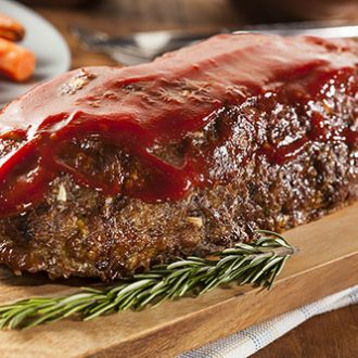 Meatloaf made with vegetables and ground turkey.